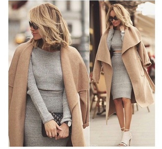 dress cardigan nude style fashion camel grey knitwear pencil skirt elegant classy office outfits jacket suit coat two-piece two piece dress set grey dress crop tops beige coat ankle boots cropped sweater grey skirt peep toe peep toe heels camel coat