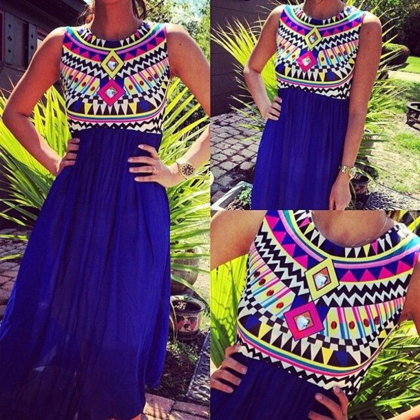 dress aztec dress blue dress