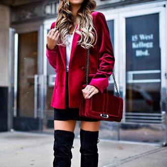 jacket tumblr velvet velvet blazer red blazer bag red bag chain bag skirt black skirt mini skirt boots over the knee boots black boots top white top