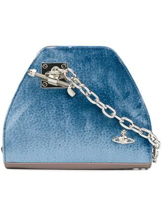 metal women bag leather cotton blue velvet