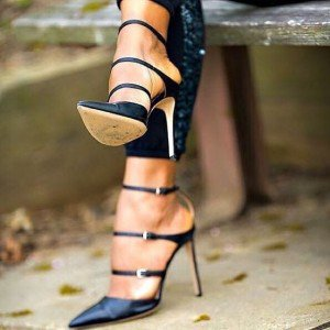 Black Three Strap Stiletto Heel Sexy Closed Toe Sandals