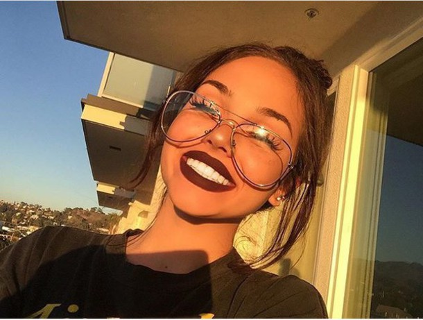 Gold Frame Glasses Tumblr : Sunglasses: tumblr, girl, maggie lindemann, cute, pretty ...