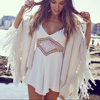 jumpsuit crochet romper boho summer cardigan white dress dress sheer macramé dressy summer dress