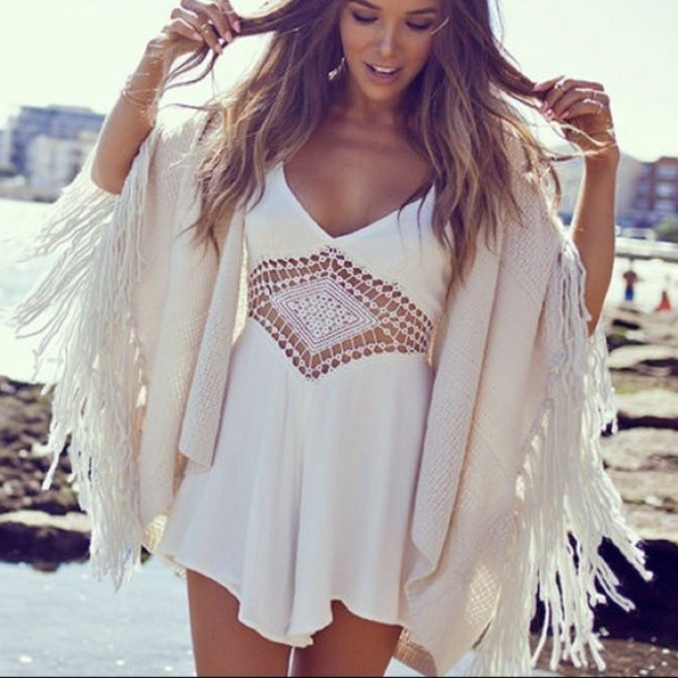 4edf602b291a jumpsuit crochet romper romper boho summer cardigan white dress dress sheer  Macramé dressy summer dress jacket