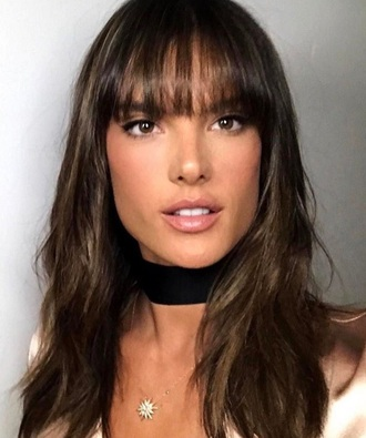jewels alessandra ambrosio jewelry necklace choker necklace velvet black velvet choker black choker wide choker model model off-duty accessories accessory