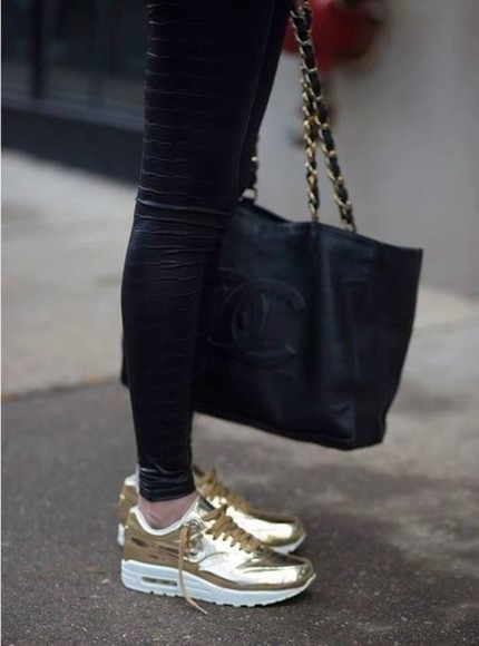 gold chains bag black chanel leather