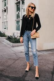 fashionjackson,blogger,jacket,top,jeans,shoes,sunglasses,bag,jewels,chanel slingbacks,nude bag,fall outfits,cropped jeans,ripped jeans,pumps,black t-shirt,black blazer,shoulder bag,mini bag,chain