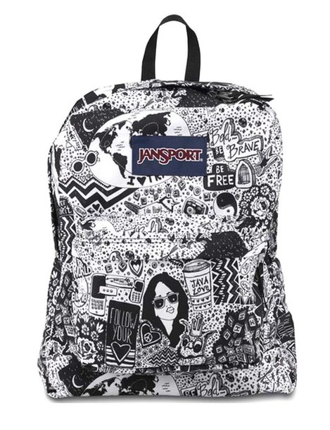 Bag: black and white, black, white, jansport, jansport backpack ...
