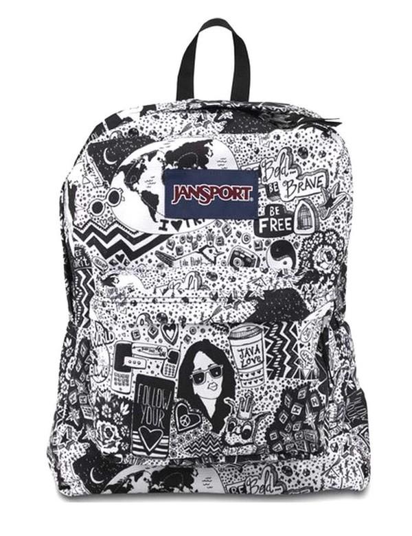 JanSport Superbreak Backpack - Black/White Free Spirit