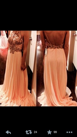 dress peach dress prom dress long evening dresses