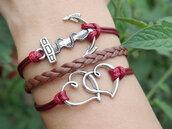 jewels,anchor,heart to heart,bracelets,wine,jewelry,fashion,vintage,handmade,brown