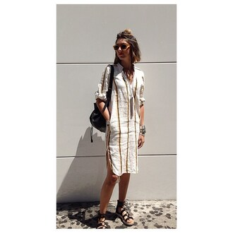 dress laura brenema yellow white black stripes button up h&m pockets