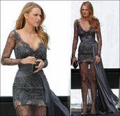 dress,grey,blake lively,gossip girl,pearl,grey lace,grey lace dress,lace dress,formal dress,gown,grey dress,prom dress,serena van der woodsen