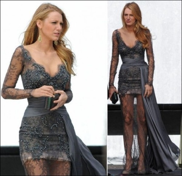 dress grey blake lively gossip girl pearl lace dress