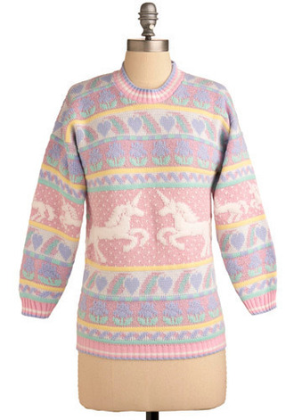 unicorn sweater pastel knitted knitwear jumper cute fairy kei pastal