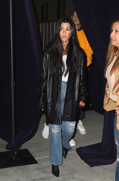 jeans jacket fall outfits streetstyle kourtney kardashian kardashians