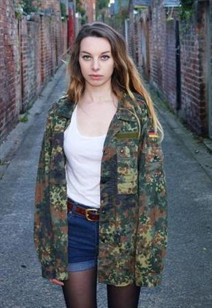 ✪ Vintage Women's F2 Camo Jacket Coat Surplus Army Military Retro Urban Ladies ✪ | eBay