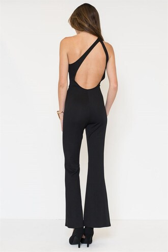 jumpsuit one shoulder flare open back low back straps classic bell bottoms jumper romper trendyish