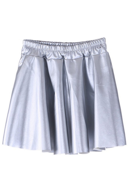 ROMWE | ROMWE High Wasit Silver Pumpum PU Skirt, The Latest Street Fashion