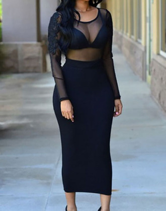 dress black sheer mesh full length design on sleeves bodycon tight fit long sleeves