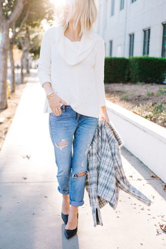 damsel in dior blogger sweater jeans shoes jewels jacket
