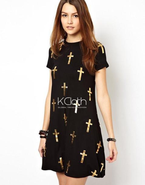dress cross printed cross dresses golden cros golden cross dress little black dress