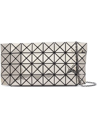 women clutch grey metallic bag