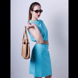 my daily style dress fashion blie cute polkadots white runway vintage