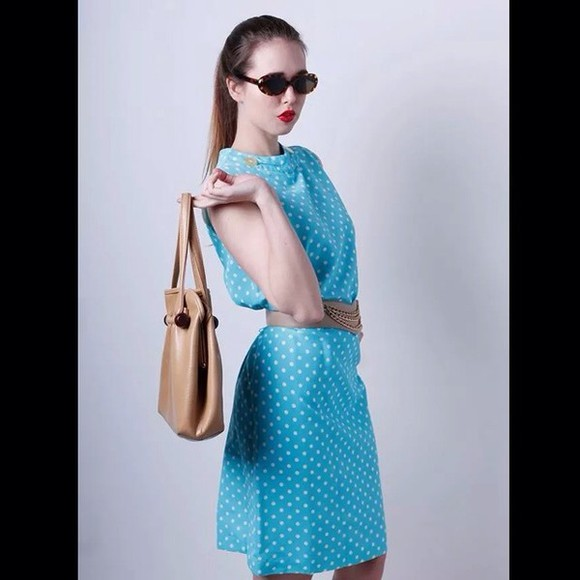 my daily style fashion dress blie cute polkadots white runway dress vintage