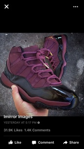 shoes,maroon and black,gold,purple,burgundy,black,jordans,purple shoes,maroon/burgundy,maroon shoes,sneakers,jordan's,high top sneakers,purple sneakers