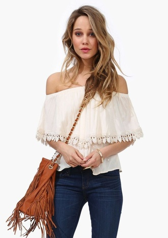 blouse white off the shoulder lace details off-white