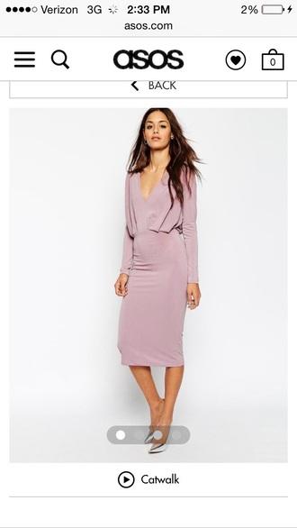 dress pencil dress long sleeve midi dress nude blush grey