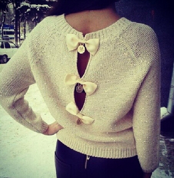 Paillette O-neck Sweater