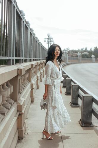 mamainheels blogger dress shoes bag maxi dress white dress summer dress summer outfits