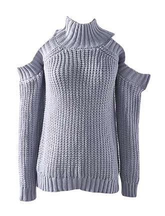 sweater high neck long sleeves casual loose pullover cold shoulder sweater grey sweater
