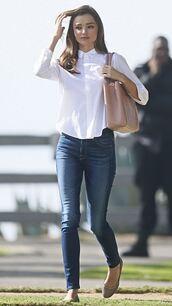 jeans,blouse,miranda kerr,flats