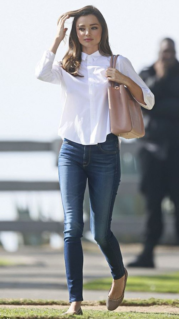 jeans blouse miranda kerr flats