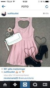 dress,pink,high heels,black,white,cute,cut-out,heart,shoes