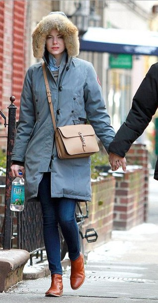emma stone boots winter jacket shoulder bag bag