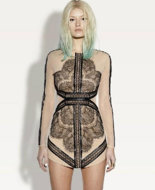 Black Lace Dress Mesh Dress