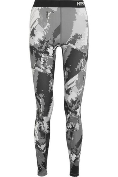 9f69bdb23f6dcd Nike Nike - Pro Hyperwarm Printed Dri-fit Stretch-jersey Leggings - Dark  gray