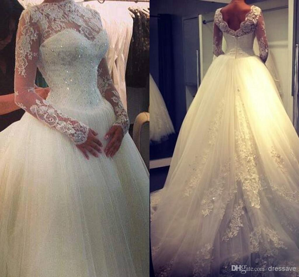 Discount long sleeves ball gown wedding dresses tulle applique online with $137.3/piece