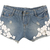 Brand New Summer Women Girl Pearl Lace Flower Jeans Shorts Hot Pants | eBay