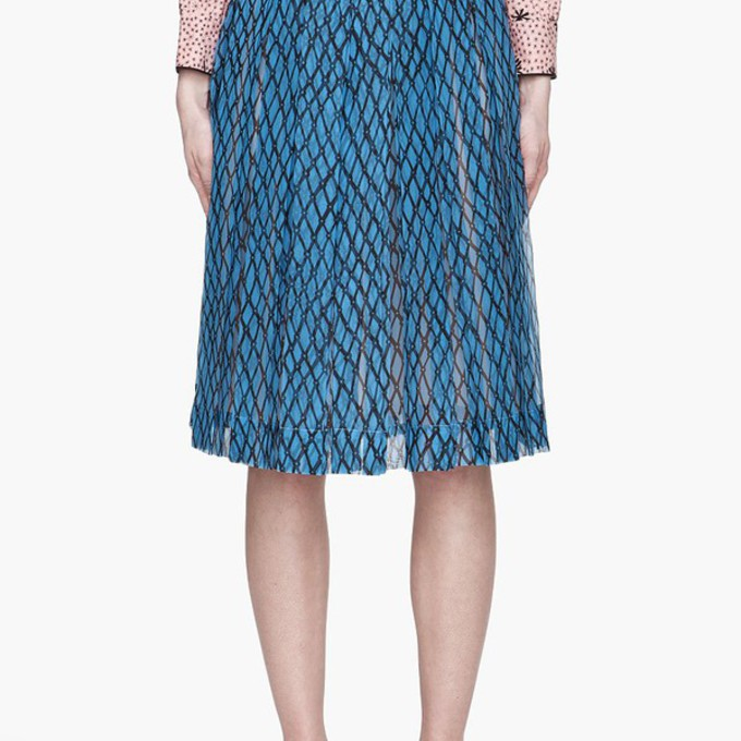 pleated blue skirt silk lattice print pleated skirt blue