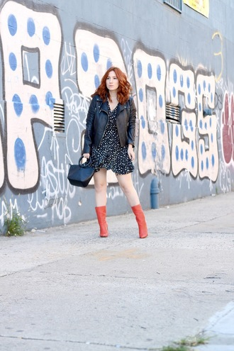 tf diaries blogger dress jacket shoes bag fall outfits leather jacket boots red boots handbag