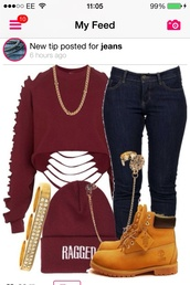 shirt,hat,jewels,jeans,shoes,earrings,ear cuff,jewelry,sweater,burgundy sweater,omg !!!,top