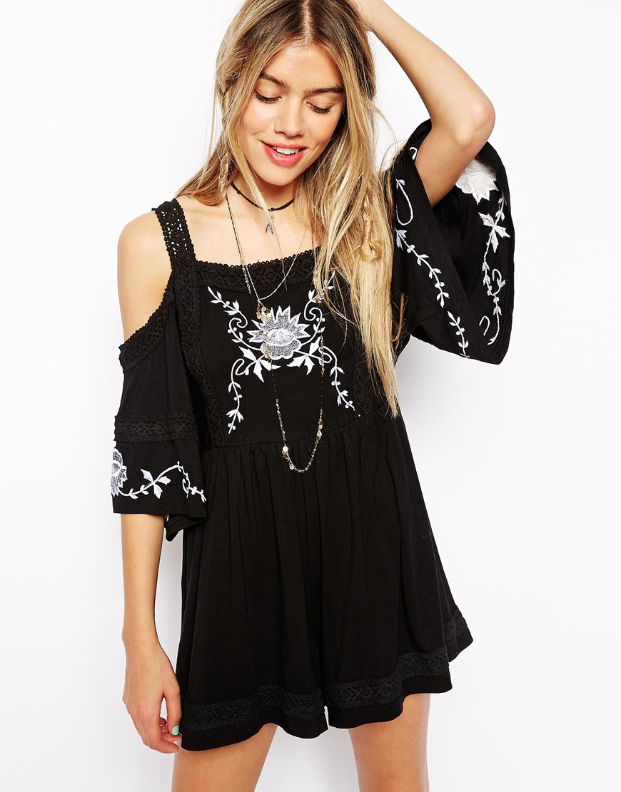 ASOS Embroidered Playsuit with Cold Shoulder at asos.com
