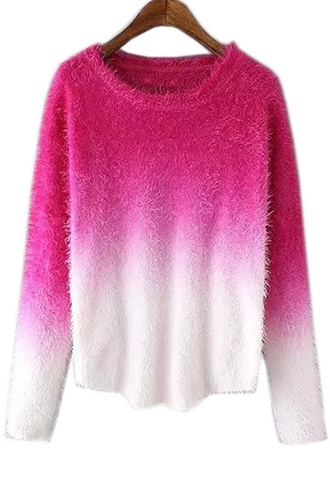 sweater pink knitwear knitted sweater dip dyed ombre bleach dye zaful ombre degradé stylish fall sweater comfy warm college cute sweater cozy cozy sweater casual winter sweater winter outfits