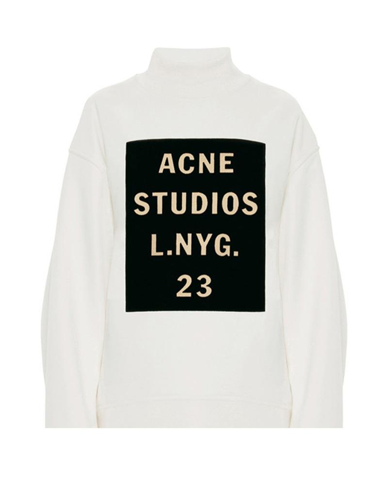Fleeced letters print pullover sweatshirt