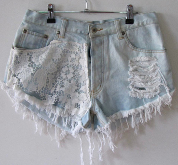 lace denim high-waisted shorts shorts white jeans blue light wash ripped clothes cut-out white lace summer outfits beach outfit shoes nails hair girl girly fashion stylish eyes lips shirt jacket High waisted shorts denim shorts make-up jewels crop tops flannel